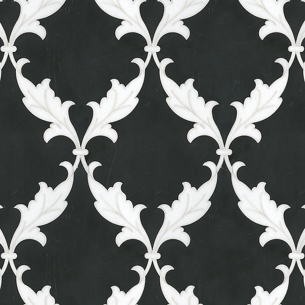 Tamara, a natural stone waterjet mosaic shown in Nero Marquina and Thassos, is part of the Silk Road Collection by Sara Baldwin for New Ravenna Mosaics. <br /> <br /> Take the next step: prices, samples and design help, http://www.newravenna.com/showrooms/