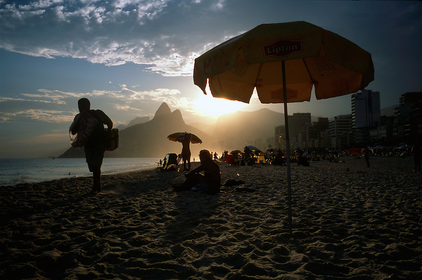 Late afternoon on Rio's infamous Ipanema beach.