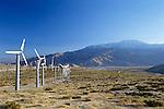 Windmill farm in the desert, sunset light, near Palm Springs, California USA.
