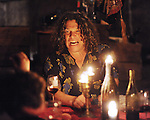 Winemaker Gary Pisoni, who is known for his bold and colorful pinor noir Santa Lucia Highlands wine, entertains guests in the cellar of his Gonzales farmhouse.