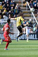 Albert Riera in action during the A League - Wellington Phoenix v Adelaide United at Hutt Recreational Ground, Lower Hutt, New Zealand on Saturday 7 March 2015. <br /> Photo by Masanori Udagawa. <br /> www.photowellington.photoshelter.com.