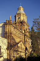 The neoclassical Templo de la Purisima Concepcion, the parish church or parroquia in the 19th-century mining town of Real de Catorce, Mexico. Real de Catorce became a virtual ghost town during the early part of the 20th century. It has recently become a popuar destination for travellers.