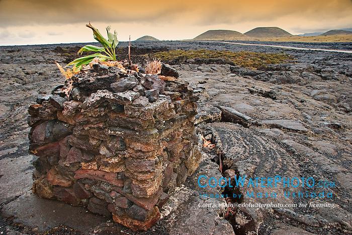 Lava Stone Hawaiian Altar or Lele Ho`okau on lava field off Saddle Roads, number of volcanic cinder cones in the background, Mauna Kea, Big Island, Hawaii
