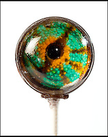BNPS.co.uk (01202 558833).Pic: RachelAdams/BNPS..Chameleon.....Not for the feint hearted.....A house wife has invented a creepy range of eye-popping lollies from a menagerie of cold blooded creatures that might not be to everyone's taste...Priscilla Briggs reptilliain creations are now slithering off the shelves as sweet toothed lollipot lovers from all over the world check out her booming website...Lizard lover Priscilla decided to try her hand at creating the unusual confectionery and mixed sugar with isomalt and corn syrup in a hot pan before pouring it into moulds...Priscilla let the sugary liquid set in two halves, and placed a circular image of a creepy eye over one of the segments...She then placed the two pieces together and waited for them to harden to give the effect of three-dimensional animal eyes...Her first batch of delicious home-made treats received good feedback and as she refined her skills the mother-of-three came up with more unusual ideas and designs...Priscilla, 32, has now produced a batch of 12 brightly coloured,  eyeball themed lollipops that wouldn't look out of place on a chameleon, python, or boa constrictor..