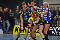 KORFBAL: GORREDIJK: Sport- en Ontspanningscentrum Kortezwaag, 27-11-2013, LDODK - AKC BLAUW WIT, Eindstand 25-28, Menno Russchen (#20   LDODK), Marjon Visser (#1   LDODK), Fenje Haenen (#5  AKC), ©foto Martin de Jong