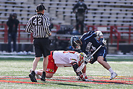 College Park, MD - March 18, 2017: Maryland Terrapins Austin Henningsen (18) wins the faceoff during game between Villanova and Maryland at  Capital One Field at Maryland Stadium in College Park, MD.  (Photo by Elliott Brown/Media Images International)
