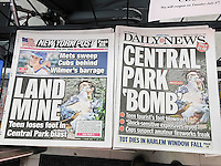 New York newspapers on Monday, July 4, 2016 report on the previous days explosion in Central Park which resulted in the loss of a foot for visitor Connor Golden. (© Richard B. Levine)