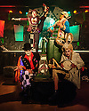 """Characters from Pyratrix Circus' production of """"Alice in Wasteland"""" pose for photos before a show. The show is on at Studio 24 (Venue 253) as part of Edinburgh Festival Fringe."""