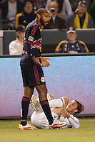 LA Galaxy midfielder David Beckham (23) reacts after being kicked by NY Red Bulls forward Thierry Henry (14). The LA Galaxy and Red Bulls of New York played to a 1-1 tie at Home Depot Center stadium in Carson, California on  May 7, 2011....