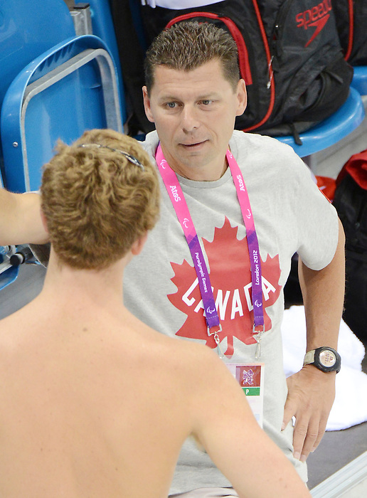 LONDON, ENGLAND – 08/24/2012: Shane Esau, coach with the Canadian Swim Team, during a training session at the London 2012 Paralympic Games at The Aquatic Centre. (Photo by Matthew Murnaghan/Canadian Paralympic Committee)