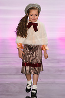Model walks runway in an outfit by Deborah Kang, during the Future of Fashion 2017 runway show at the Fashion Institute of Technology on May 8, 2017.