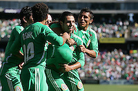 Luis Miguel Noriega (center) celebrates his goal with teammates. Mexico defeated Nicaragua 2-0 during the First Round of the 2009 CONCACAF Gold Cup at the Oakland Coliseum in Oakland, California on July 5, 2009.