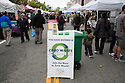 Zero Waste Zone Sign at Ecology Center's Berkeley Farmers' Market which prides itself on being a 'Zero Waste Zone' and prohibiting genetically modified foods. Berkeley, California, USA
