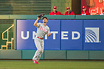 22 May 2015: Philadelphia Phillies outfielder Grady Sizemore pulls in a Ryan Zimmerman fly ball in the second inning against the Washington Nationals at Nationals Park in Washington, DC. The Nationals defeated the Phillies 2-1 in the first game of their 3-game weekend series. Mandatory Credit: Ed Wolfstein Photo *** RAW (NEF) Image File Available ***