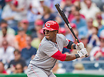 21 May 2014: Cincinnati Reds outfielder Roger Bernadina in action against the Washington Nationals at Nationals Park in Washington, DC. The Reds edged out the Nationals 2-1 to take the rubber match of their 3-game series. Mandatory Credit: Ed Wolfstein Photo *** RAW (NEF) Image File Available ***