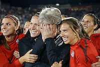 Commerce City, Colorado - Wednesday September 19, 2012; The  US WNT defeated the National team of Australia 2-1 during an International friendly game at Dick's Sporting Goods Park.  USWNT Head Coach Pia Sundhage gets emotional during a video played on the jumbotron.  This was her final game with the national team.