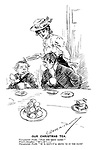 """Our Christmas Tea. Unregenerate youth. """"Pass the seedy caike!"""" Vicar's daughter. """"If? - If? - - """" Unregenerate youth. """"If 'e don't I'll shove 'Im in the faice! (middle and lower classes mix for a Christmas Tea party)"""