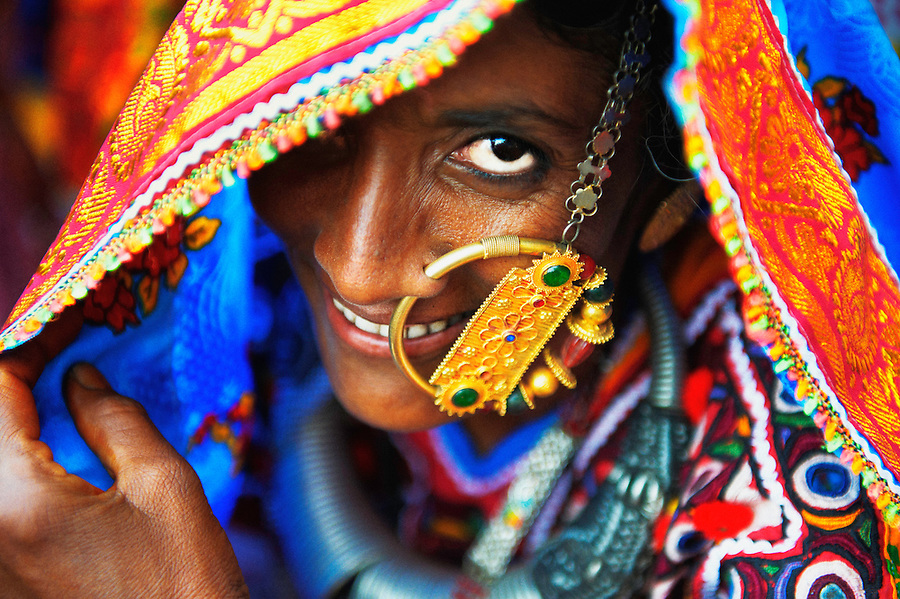 "A harijan woman wearing a traditional nose ring called ""Velado"". It is a sign that the woman is married and it is worn only on special occasions."