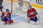 22 April 2009: Montreal Canadiens goaltender Carey Price gives up a first period goal to the Boston Bruins at the Bell Centre in Montreal, Quebec, Canada. The Canadiens, entering the contest down three games to none, were eliminated from Stanley Cup competition with the 4-1 loss and series sweep by the Division winning Bruins. ***** Editorial Sales Only ***** Mandatory Credit: Ed Wolfstein Photo