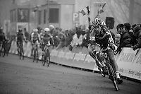 Wout Van Aert (BEL/Vastgoedservice-Golden Palace) leading the pack into the last lap<br /> <br /> Flandriencross Hamme 2014