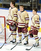 Kevin Hayes (BC - 12), Pat Mullane (BC - 11), Danny Linell (BC - 10) - The Boston College Eagles defeated the Air Force Academy Falcons 2-0 in their NCAA Northeast Regional semi-final matchup on Saturday, March 24, 2012, at the DCU Center in Worcester, Massachusetts.