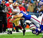 30 November 2008: San Francisco 49ers' running back Frank Gore gains 5 yards in the second quarter against the Buffalo Bills at Ralph Wilson Stadium in Orchard Park, NY. The 49ers defeated the Bills 10-3. ***** Editorial Use Only ******..Mandatory Photo Credit: Ed Wolfstein Photo