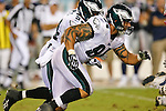 Philadelphia Eagles defensive end Jason Babin #94 during the preseason NFL game between the New England Patriots and the Philadelphia Eagles. The Patriots won 27-25 at Lincoln Financial Field in Philadelphia, Pennsylvania. (Photo by Brian Garfinkel)