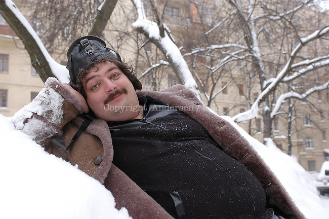 Russian author Dmitri Bykov in Moscow street.