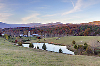 Nov. 8, 2011 - Charlottesville, Virginia - USA;  A working farm with a lake surrounded by the Blue Ridge Mountains. (Credit Image: © Andrew Shurtleff)