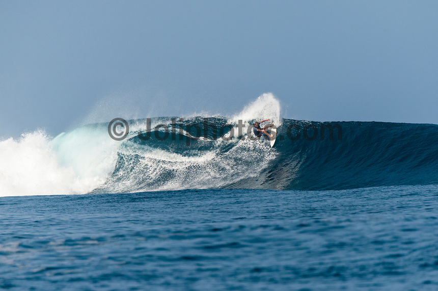 Namotu Island Resort, Nadi, Fiji (Friday, March 10 2017): Zac Haynes (AUS) -The wind was light this morning,  coming out of the out of the NE.  There had been big electrical storms with lots of rain during the night with  the swell picking up to arto a solid 6' plus from the SW. Cloudbreak was the spot, with waves at Restaurants,  Lefts, Pools and Wilkes    Photo: joliphotos.com