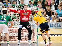 Tomas Mrkva (FAG) im Tor bei einem Siebenmeter gegen Uwe Gensheimer (RNL)
