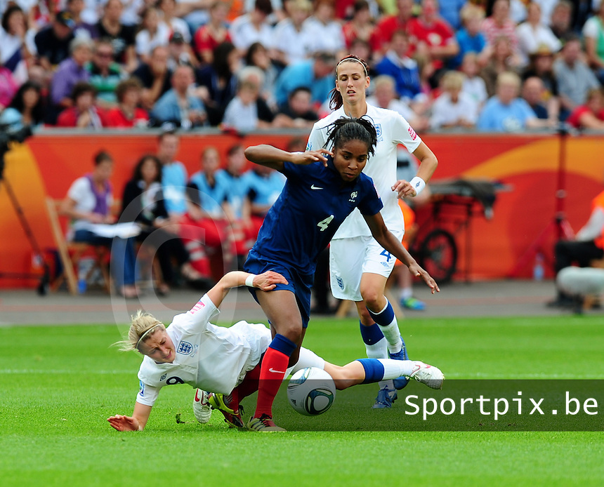 Fifa Women's World Cup Germany 2011 : England - France - at Leverkusen : Laura Georges in duel met Ellen White.foto DAVID CATRY / Vrouwenteam.be