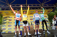 Individual jersey winners celebrate in Alpharetta after Stage 6 of the Ford Tour de Georgia on Sunday, April 23, 2006. From left are King of the Mountains winner Jason McCartney of the Discovery Channel Pro Cycling Team; Tour de Georgia GC Leader Floyd Landis of Phonak Hearing Systems; Sprint Leader Fred Rodriguez of Davitamon-Lotto; and Best Young Rider Janez Brajkovic of the Discovery Channel Pro Cycling Team.<br />