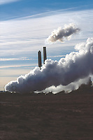 POWER PLANT<br /> Cooling Tower Emits Plume of Smoke<br /> Coal burning power plant<br /> Joseph City, AZ