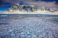The Seven Sisters and ocean ice, Antarctica, Antarctic Peninsula