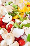 Sliced, raw, summer vegetables prepared for roasting, Sanford Lake, Michigan, MI, USA