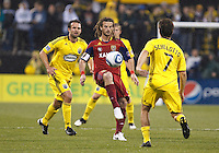 24 APRIL 2010:  Real Salt Lakes' Kyle Beckerman (5) and Guillermo Barros Schelotto of the Columbus Crew (7) during the Real Salt Lake at Columbus Crew MLS soccer game in Columbus, Ohio. Columbus Crew defeated RSL 1-0 on April 24, 2010.