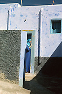 May 7th, 1987. In Melilla, Spanish Morocco. View of the Barrio Hidum, which is a Muslim area on the Suburb of Melilla. During the Ramadan, it is a ritual to paint some walls of the houses in light blue.