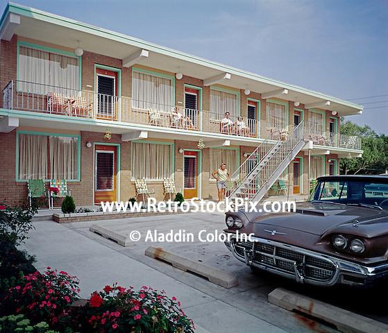 Crocus Apartments, Wildwood, NJ. 1960's Exterior with an old car.