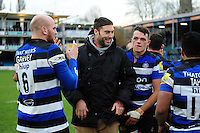 Matt Banahan of Bath Rugby joins his team-mates after the match. Aviva Premiership match, between Bath Rugby and Saracens on December 3, 2016 at the Recreation Ground in Bath, England. Photo by: Patrick Khachfe / Onside Images