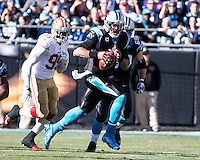 The Carolina Panthers played the San Francisco 49ers at Bank of America Stadium in Charlotte, NC in the NFC divisional playoffs on January 12, 2014.  The 49ers won 23-10.  Carolina Panthers quarterback Cam Newton (1)
