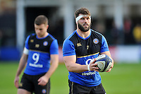 Guy Mercer of Bath Rugby looks on during the pre-match warm-up. European Rugby Champions Cup match, between Bath Rugby and RC Toulon on January 23, 2016 at the Recreation Ground in Bath, England. Photo by: Patrick Khachfe / Onside Images