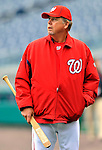 2 April 2011: Washington Nationals pitching coach Steve McCatty watches batting practice prior to a game against the visiting Atlanta Braves at Nationals Park in Washington, District of Columbia. The Nationals defeated the Braves 6-3 in the second game of their season opening series. Mandatory Credit: Ed Wolfstein Photo