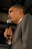 US Senator and Democratic Presidential candidate Barack Obama speaking at McEachern High School in Powder Springs, Georgia on July 8, 2008. He held a town hall meeting on the economy.  He spoke in front of a crowd of more than 1500 people.  It was Obama's first visit to Georgia since he became the Democratic party nominee.