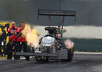 Feb 10, 2017; Pomona, CA, USA; NHRA top fuel driver Shawn Reed during qualifying for the Winternationals at Auto Club Raceway at Pomona. Mandatory Credit: Mark J. Rebilas-USA TODAY Sports