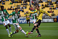 Scott Neville and Jeremy Brockie in action during the A League - Wellington Phoenix v Newcastle Jets at Westpac Stadium, Wellington, New Zealand on Sunday 26 October 2014. <br /> Photo by Masanori Udagawa. <br /> www.photowellington.photoshelter.com.