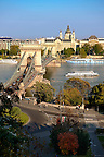 View across the Danube to Pest from The Buda Castle Hill, with the Szecheni Chain Bridge ( Lanchid ). Budapest, Hungary