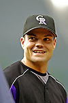 7 September 2006: Jamey Carroll, second baseman for the Colorado Rockies, chats with former teammates prior to a game against the Washington Nationals. Carroll went 3 for 5 with 2 RBIs as the Rockies defeated the Nationals 10-5 in a rain-delayed game at Coors Field in Denver, Colorado. ..Mandatory Photo Credit: Ed Wolfstein..