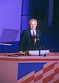 United States Senator John H. Glenn, Jr. (Democrat of Ohio) introduces the 1988 Democratic nominee for Vice President, U.S. Senator Lloyd Bentsen (Democrat of Texas), on Thursday, July 21, 1988 at The Omni in Atlanta, Georgia..Credit: Arnie Sachs / CNP