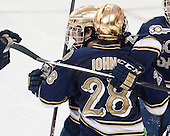 Kevin Lind (ND - 25), Stephen Johns (ND - 28) - The visiting University of Notre Dame Fighting Irish defeated the Boston College Eagles 7-2 on Friday, March 14, 2014, in the first game of their Hockey East quarterfinals matchup at Kelley Rink in Conte Forum in Chestnut Hill, Massachusetts.